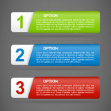 Vector color paper option labels. With number of option on ribbon royalty free illustration