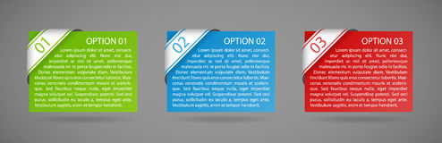 Vector color paper option labels. With number of option on ribbon Royalty Free Stock Images