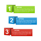 Vector color paper option labels. Set of vector color folded paper option labels with number of option Stock Photography