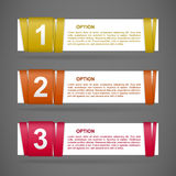 Vector color paper option labels. Set of vector color paper option labels with number of option on ribbon Stock Image