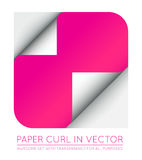 Vector Color Paper Page Curl with Shadow Isolated. Stock Photography