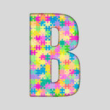 Vector Color Piece Puzzle Jigsaw Letter - B. Stock Photo
