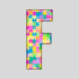 Vector Color Piece Puzzle Jigsaw Letter - F. Stock Photos