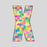 Vector Color Piece Puzzle Jigsaw Letter - X. Royalty Free Stock Photos