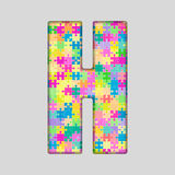 Vector Color Piece Puzzle Jigsaw Letter - H. Royalty Free Stock Image