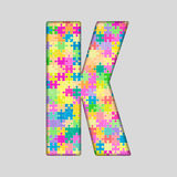 Vector Color Piece Puzzle Jigsaw Letter - K. Stock Photos