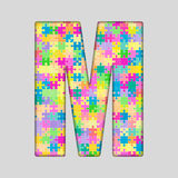 Vector Color Piece Puzzle Jigsaw Letter - M. Royalty Free Stock Photo