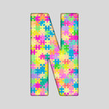 Vector Color Piece Puzzle Jigsaw Letter - N. Royalty Free Stock Images
