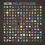Vector color pixel art style icons set Royalty Free Stock Images
