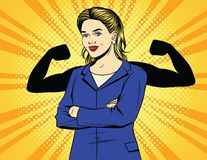 Vector color pop art comic style vintage poster of strong business woman. A woman worker in an office suit with muscles over halftone dot background. Female vector illustration