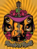 Vector color poster template with guitar, speakers and rose.  Royalty Free Stock Image
