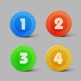 Vector color progress buttons for four steps Stock Images