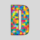 Vector Color Puzzle Piece Jigsaw Letter - D. Royalty Free Stock Photo