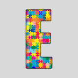 Vector Color Puzzle Piece Jigsaw Letter - E. Stock Photos