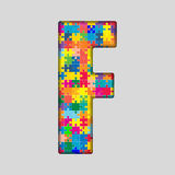 Vector Color Puzzle Piece Jigsaw Letter - F. Stock Photos