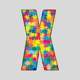 Vector Color Puzzle Piece Jigsaw Letter - X. Stock Images