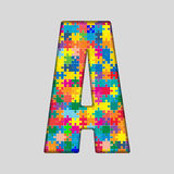 Vector Color Puzzle Piece Jigsaw Letter - A. Stock Photo