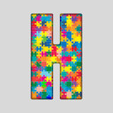 Vector Color Puzzle Piece Jigsaw Letter - H. Royalty Free Stock Photo