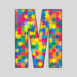 Vector Color Puzzle Piece Jigsaw Letter - M. Stock Photo