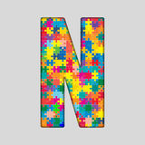 Vector Color Puzzle Piece Jigsaw Letter - N. Stock Photography