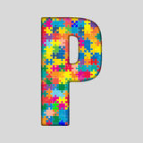 Vector Color Puzzle Piece Jigsaw Letter - P. Stock Photo