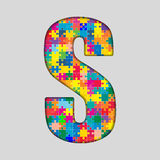 Vector Color Puzzle Piece Jigsaw Letter - S. Stock Photography