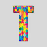 Vector Color Puzzle Piece Jigsaw Letter - T. Royalty Free Stock Images