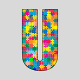 Vector Color Puzzle Piece Jigsaw Letter - U. Stock Image