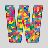 Vector Color Puzzle Piece Jigsaw Letter - W. Royalty Free Stock Photos
