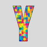 Vector Color Puzzle Piece Jigsaw Letter - Y. Vector Puzzle Jigsaw Letter - Y. Gigsaw made of Colored Puzzle Piece - Vector Illustration. Puzzle Font. Creative Royalty Free Stock Photography