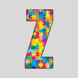 Vector Color Puzzle Piece Jigsaw Letter - Z. Stock Images