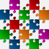 Vector Color Puzzles Pieces - JigSaw - 25. 25 Color Puzzles Pieces Arranged in a Square - JigSaw - Vector Illustration Stock Images