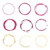Vector color red and white Wine stain circles Stock Photography