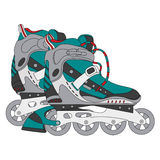 Vector color roller skates 01. Vector color roller skates. Hand-drawn vector illustration. Can be used for graphic design, textile design or web design Royalty Free Stock Photo