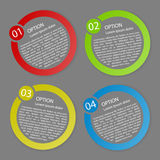 Vector color rounded paper option labels. Set of vector color rounded paper option labels with number of option vector illustration
