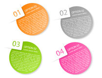 Vector color rounded paper option labels. Set of vector color rounded paper option labels with number of option Stock Photo