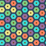 Vector color seamless hexagonal pattern violet, green, yellow, dark blue, red and cyan colors stock illustration