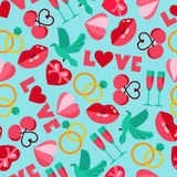 Vector color seamless pattern of wedding and love symbols Stock Images