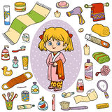 Vector color set of bathroom objects, girl and bathrobe stock illustration