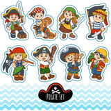 Vector color set of characters pirates Royalty Free Stock Photo
