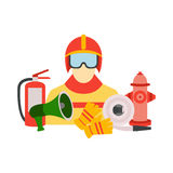 Vector color set collection of firefighter equipment  illustration Stock Photos