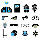 Vector color set collection icons of police equipment  illustration Stock Images