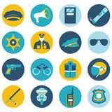 Vector color set collection icons of police equipment illustration vector illustration