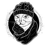 Vector color set of elegant cat woman face. Vector color sketch of elegant cat woman face with hat and scarf Stock Image