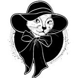 Vector color set of elegant cat woman face. Vector color sketch of elegant cat woman face with wide brimmed hat and bow Royalty Free Stock Photography