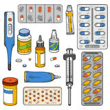 Vector color set of medical items Royalty Free Illustration
