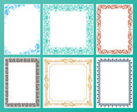 Vector color set. Ornate frames and vintage scroll elements Royalty Free Stock Photos