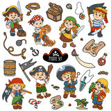 Vector color set of pirate items, and characters of pirates Stock Image