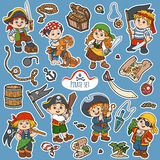 Vector color set of pirate items, and characters of pirates Royalty Free Stock Photos