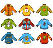 Vector color set of sweaters Stock Photo